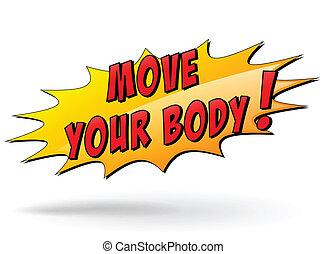 lichaam, verhuizen, jouw, vector, pictogram