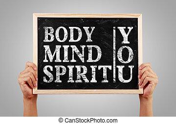 lichaam, verstand, geest, u