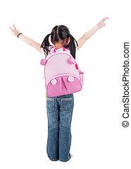 lichaam, volle, schooltas, aziatisch kind, achterk bezichtiging