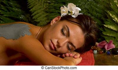 lichaam, vrouw, mask., klei, spa, salon., masseren, care