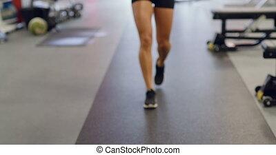 lichaam, vrouw, passen, gym, slank, water, fitness, het glimlachen, dranken