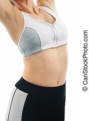 lichaam, vrouw, -, vrijstaand, fitness