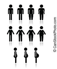 lichaam, vrouwen, man, type, iconen
