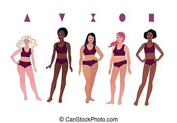 lichaam, vrouwlijk, karakters, types, multiethnic