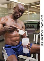lichaamsaannemer, scooping, op, proteïne, poeder