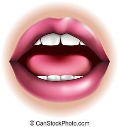 lichaamsdeel, mond, illustratie