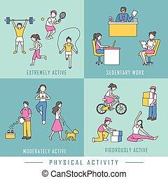 lichamelijk, concept, activiteit