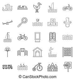 lichamelijk, stijl, opleiding, set, schets, iconen