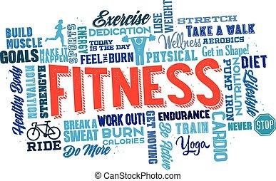 lichamelijk, woord, wolk, fitness