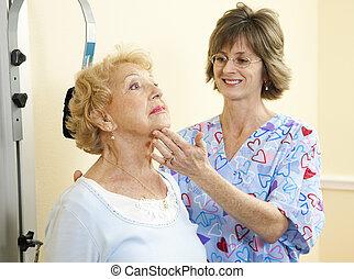 lichamelijke behandeling, -, hals