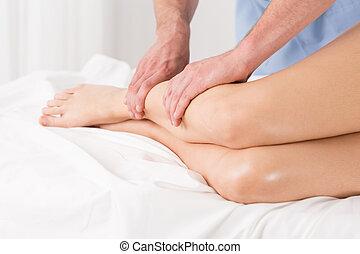 lichamelijke therapist, doen, lymphatic, drainage