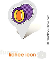 Lichee pin map icon. Lichee tropical fruit sign