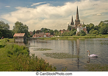 Lichfield Cathedral - Stowe pool, and Lichfield Cathedral in...
