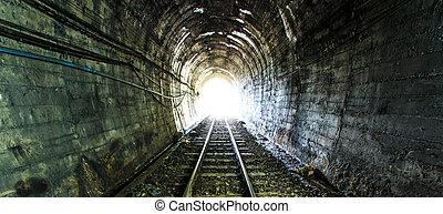 licht, aan het eind van, spoorweg, tunnel., natuurlijke , lighting.