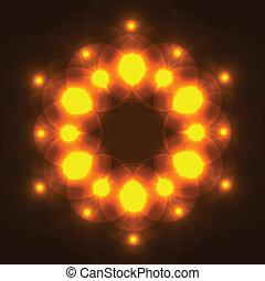 licht, abstract, achtergrond, gloeiend, stippen