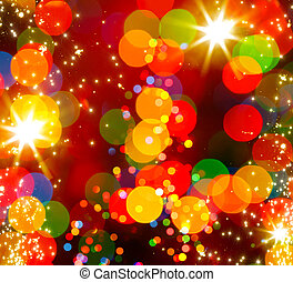 licht, abstract, boompje, kerstmis, achtergrond