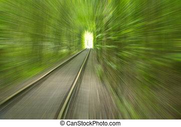 licht, abstrakt, schiene, bäume, bewegung, geschwindigkeit, bild