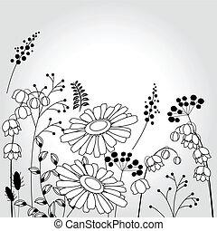 licht, achtergrond, met, bloemen