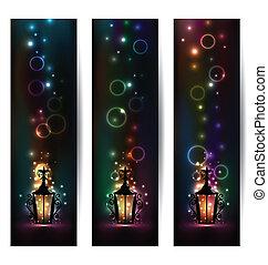licht, banner, satz, laterne, islamisch