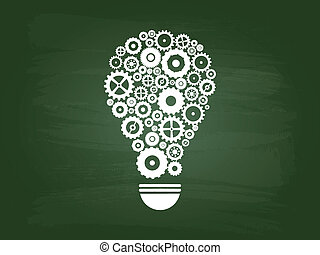 licht, begriff, idee, zwiebel, zahnräder