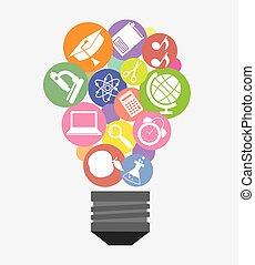licht, binnen, opleiding, bol, iconen