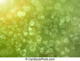 licht, bokeh, groene samenvatting, achtergrond.