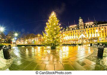 licht, boompje, kerstmis