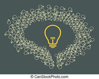 licht, bulb., gehirn