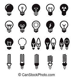 licht, bulbs., bol, pictogram, set