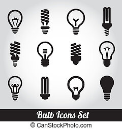 licht, bulbs., bol, pictogram, set