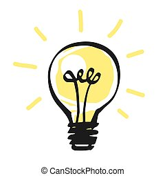 licht, concept., idee, vektor, ikone, zwiebel