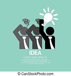 licht, concept., idee, zwiebel