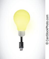 licht, design, usb, abbildung, zwiebel