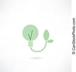 licht, ecologisch, bol, pictogram