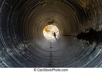 licht, ende, tunnel