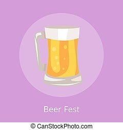 licht, fest, bier, illustratie, mok, drank, pictogram