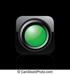 licht, freigestellt, abbildung, ledig, vektor, grün, ikone