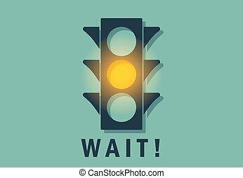licht, gele, wachten, verkeer