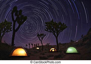 licht, gemalt, landschaftsbild, von, camping, und, sternen