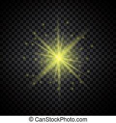 licht, glühen, glitzer, gelber