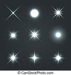 licht, glühen, leuchtsignal, sternen, effekt, set.