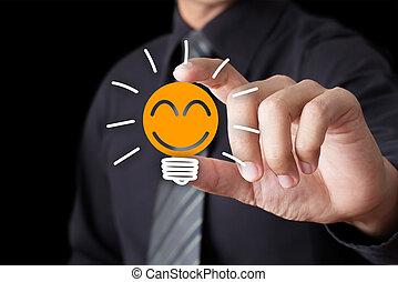 licht, glimlachen, bol, pictogram