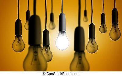 licht, gloeiend, bol