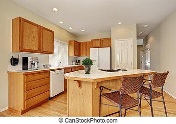 Haus, interior., schemel, amerikanische , insel, kueche .... Bilder ...