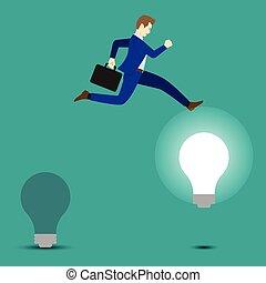 licht, helder, springt, zakenman, bol