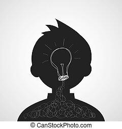 licht, idee, creatief, bol, spotprent, man