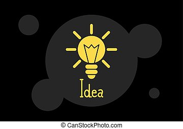 licht, idee, gelber , schwarz, abbildung, hintergrund, zwiebel