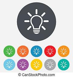 licht, idee, zeichen, lampe, icon., symbol.