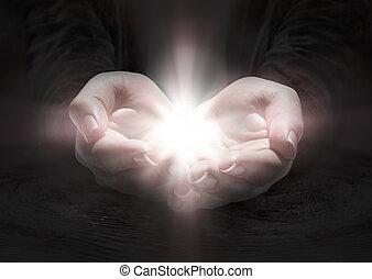 licht, in, hände, -, beten, der, kruzifix