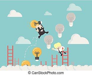 licht, ladder, op, zakelijk, bol
